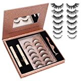 AOVSHEY Magnetic Eyelashes with Eyeliner,2 Tubes of Magnetic Eyeliner & 7 Pairs Magnetic Eyelashes Kit-with Pocket Mirror and Applicator -No Glue Needed