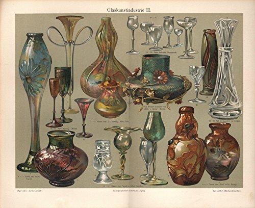 Glaskunstindustrie II, Vasen von Tiffany, Galle u.a. - Antiquarische Lithografie (Sammlerstück) von 1904