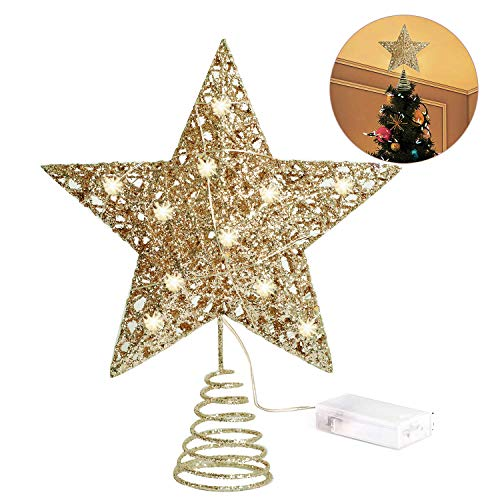 INAROCK Glittered Christmas Tree Topper 8 Inch Metal Star Treetop 10 LED Xmas Topper Star for Christmas Tree Decoration (Gold)