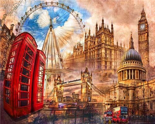 YEESAM ART DIY Ölgemälde Malen nach Zahlen Erwachsene Kinder, Romantischer Ferris Wheel London City Tower Bridge Zahlenmalerei ab 5 Öl Wandkunst (City, ohne Rahmen)