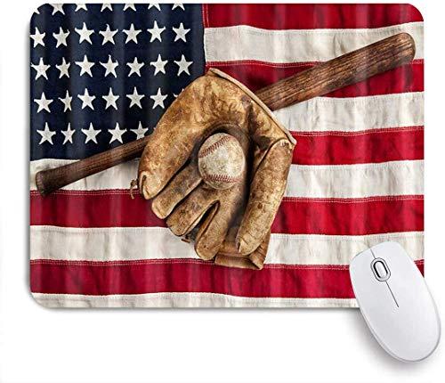 Gaming Mouse Pad rutschfeste Gummibasis, Sport Vintage Baseball League Ausrüstung Handschuh und Fledermaus mit US-amerikanischer Flagge, für Computer Laptop Office Desk