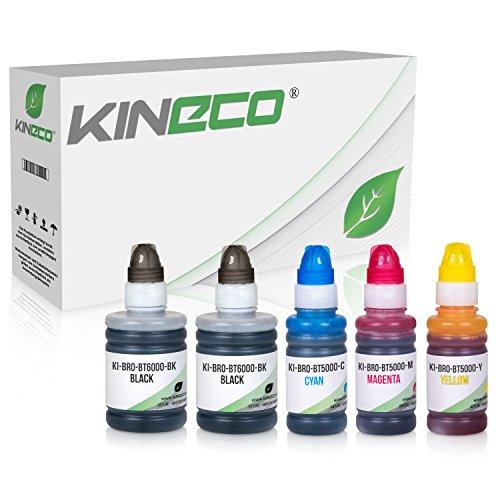 Kineco 5 Tintenbehälter kompatibel für Brother BT6000 BT5000 für Brother DCP-T300 T500W T700W MFC-T800W