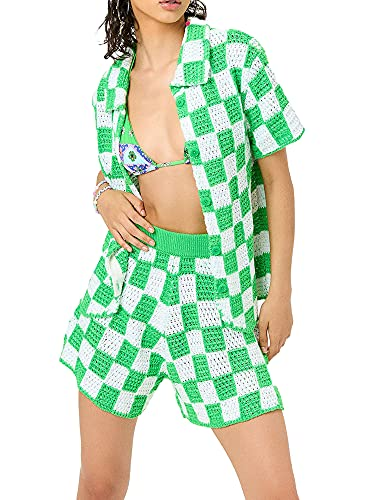 Womens Two Piece Short Sets Outfit Short Sleeve Button Down Loose Shirt Short Pants Set Checkered Plaid Knit Outfit (Green, Small)