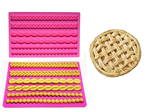 Joinor Pie Crust Silicone Fondant Impression Mat, Pizze Top Decoration Cake Decorating Chocolate Candy Sugarcraft Pastry Tools