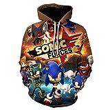 3D El erizo Sudaderas Con Capucha Niños Kawaii Anime Super Sonic Impresión De Dibujos Animados...