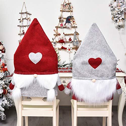 Fundas para Sillas de Navidad, 2 Piezas de Gorro de Papá Noel Fundas para decoración de Navidad Fiesta Festiva Festival Cena en casa Juego de Fundas para Asientos de Mesa