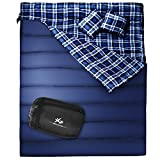BESTEAM Huge Double Sleeping Bag, Flannel, Queen Size XL 86.6'x59' with 2 Pillows and Compression Bag, Waterproof, lightweight, Great for Backpacking, Camping, Hiking