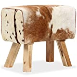 vidaXL Mangoholz Hocker Sitzhocker Fußhocker Lederhocker Beine aus Massivholz Echtleder Echtes Ziegenleder 60x30x50cm Mehrfarbig