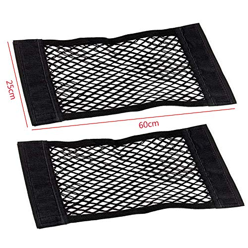 2 bolsas de red para maletero de coche, 60 x 25 cm, red de protección universal para maletero, red elástica con cierre de nailon para almacenamiento de equipaje, organizador