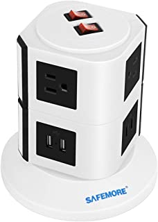 Safemore 6 Outlet Surge Protector Power Strip with USB Smart Charger (4 Port