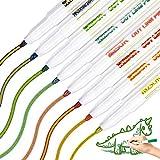 Whaline - Pennarelli metallici a doppia linea, 8 colori metallizzati, per scrivere e disegnare, per biglietti di auguri di compleanno, foto fai da te (colore interno, oro)