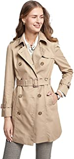 Coats Women's Trench Coat, British Style Lapel Spring and Autumn Coat, Long-Sleeved Ladies' Thin Coat, Mid-Length Casual Overalls, Handsome Lapels, Double-Breasted,