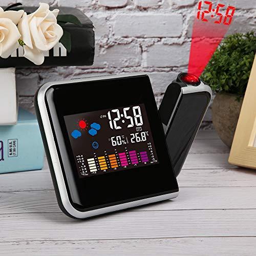 Nannday 5,9 x 4,3 Zoll elektronische Uhr, LCD-Farbbildschirm Multifunktionale Projektionsuhr für das Wohnzimmer in der Küche