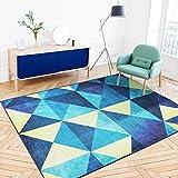 AILI Alfombra Simple Azul del patrón del triángulo, Piso Creativo Estera Antideslizante del sofá 120 * 180cm (tamaño : 140 * 200cm)