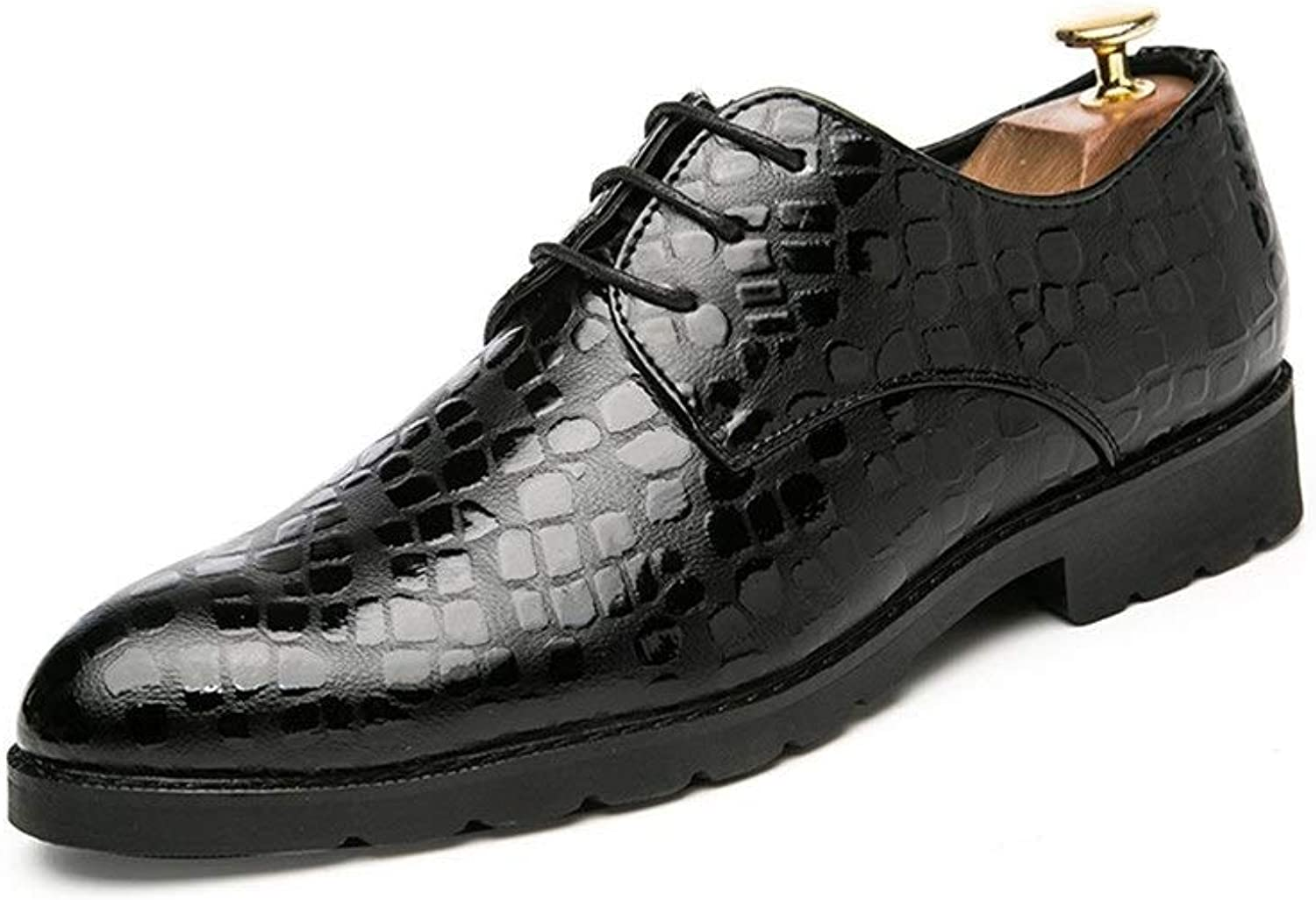 Z.L.F shoes Men's Business Modern Oxford Casual Pointy Thick Crocodile Patent Leather Formal shoes Leather shoes