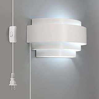 Lightess Modern Sconce Lighting Plug-in 6W LED Up Down Wall Lamp for Bedroom Hallway, Cool White