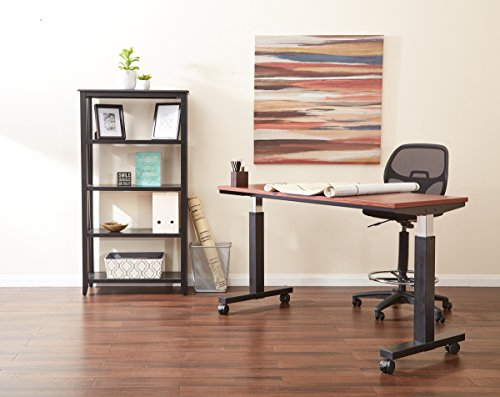 """Office Star Deluxe Mesh Back Drafting Chair with 18.5"""" Diameter Adjustable Footring, Black Fabric Seat"""