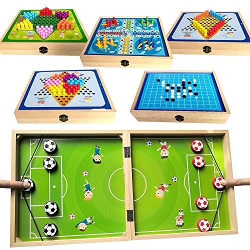 HahaGo 6 in 1 Schnelles Sling-Puck-Spiel, lustiges Holz-Sling-Puck-Gewinner-Brettspiel, Tischspiele für interaktives Eltern-Kind-Brettspielzeug, Tischkampf-Stoßfängerschach für Erwachsene und Kinder