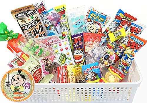 Samurai Dagashi Set, Japanese Snack Assortment 30pc with Samurai Kid sticker