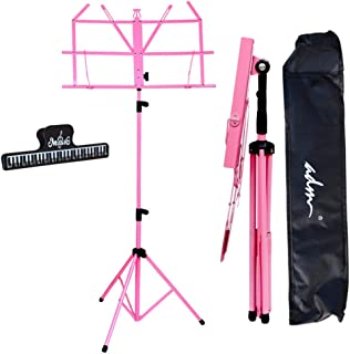 ADM Music Stand Lightweight Easy to Set Collapsible Adjustable Orchestra Portable Sheet Music Stand with Music Sheet Clip Holder and Carry Bag, Suitable for School and Choirs, Pink