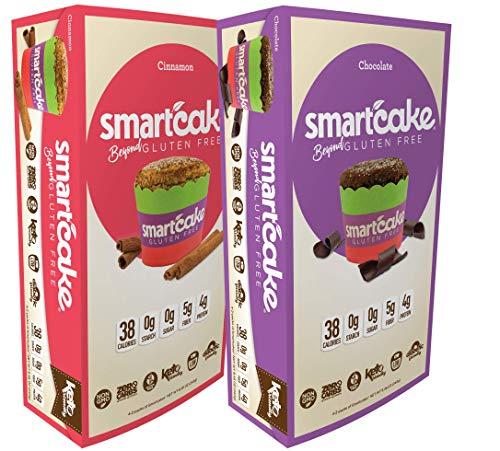 Cinnamon and Chocolate Smartcake bundle: 4 twin-packs of cinnamon and 4 twin-packs of chocolate, gluten free, sugar free, keto snack cakes; 8 twin-packs total