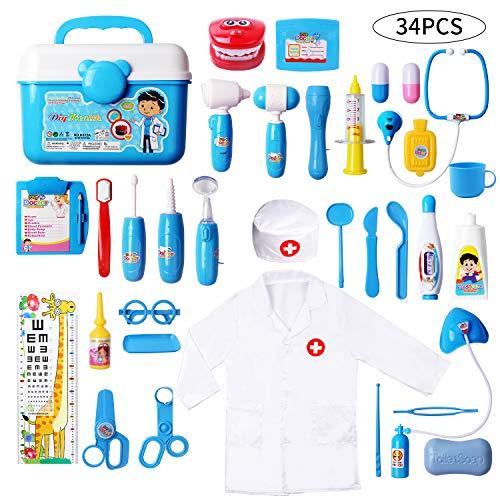 DigHealth 34 Stück Kinder Arztkoffer Spielzeug,Doktorkoffer zum Rollenspiel,Arzt Medizinisches Spielset Spielzeug Kinder,Arzt Set Kinder ab 3 Jahren