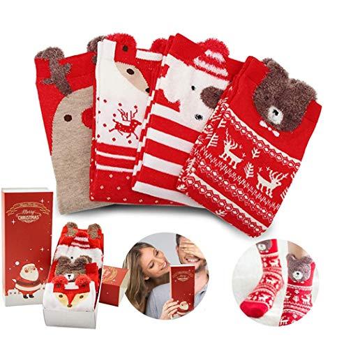 O-Kinee Calze Natalizie Donna, 4 Coppie Calze Natale, Calze di Natale Regali, Calzini Natalizi per Natale Regalo di Natale con Confezione Regalo, per Fidanzata, Mamma, Sorella