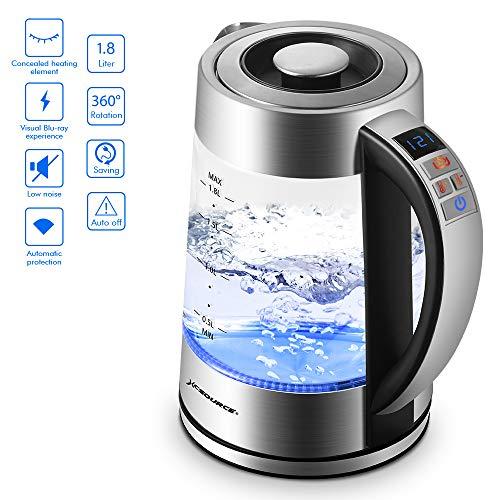 Wasserkocher Glas Boiler Heißwasser & Kaffee Heizung mit blauer LED Kontrollleuchte,automatische Abschaltung & Trockengehschutz,0.5L-1.8L 2000W Heizelement Quick Boil Mit Multifunktions