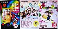 富士フィルム Instax Mini インスタントフィルム レインボー&シャイニー スター&キャンディポップフィルム 10枚 x 3アソート