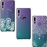 [3 Stück] Huawei P20 Pro Hülle, Shumeifang® Cute Funny Kreative Cartoon Transparent Silikon Bumper für Huawei P20 Pro - Löwenzahn und Panda und Mandala