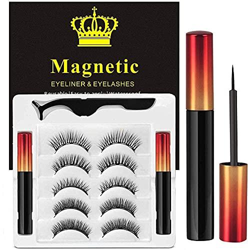 Ciglia Magnetiche Con Eyeliner Magnetico Kit, 5 Paia Di Ciglia Finte Naturali E Di Lunga...