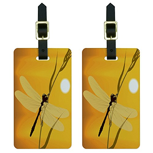 Graphics & More Dragonfly-Dragon Fly Yellow Luggage Tags Suitcase Carry-on Id, White