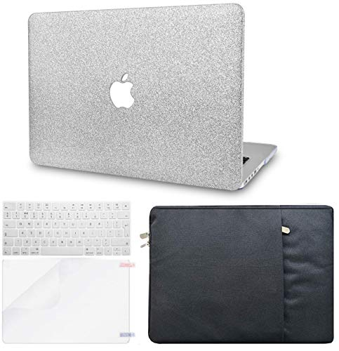 KECC MacBook Pro 13' Case (2020) w/UK Keyboard Cover Plastic Hard Shell + Sleeve + Screen Protector A2289/A2251 Touch Bar (Silver Sparkling)