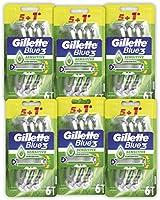 Gillette Blue3 Sensitive Jednorazowa maszynka do golenia dla mężczyzn, 6 x 6 sztuk
