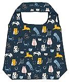 Moses Shopper Love Cats | Bolsa de la compra plegable, respetuosa con el medio ambiente, reutilizable, poliéster, azul oscuro, talla única