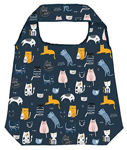 Moses Shopper Love Cats | Faltbare Einkaufstasche | umweltfreundlich, wiederverwendbar, Polyester, dunkelblau, One Size