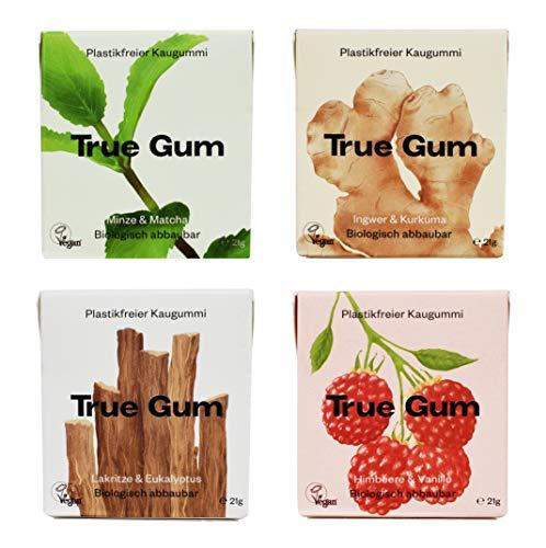 True Gum Probierset 4 Sorten | Plastikfreier Kaugummi | Biologisch Abbaubar | Vegan | 21 g (1x pro Sorte: Ingwer & Kurkuma, Pfefferminze & Matcha, Süssholz & Eukalyptus, Himbeere & Vanille), 84 g