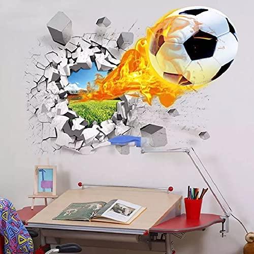 HFDHFH 3D Calcio Rotto Adesivi murali Camera dei Bambini Soggiorno Sport Decorazione murale Adesivi murali Decorazione della casa Decalcomania Carta da Parati