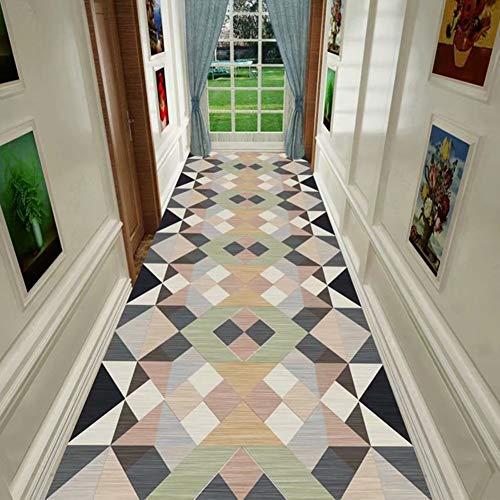 alfombra De Pasillo Estilo Geométrico Retro Alfombras de Área, 60cm / 80cm / 100cm / 120cm de Ancho Corredor Respaldo Antideslizante, Lavable (Size : 100x350cm)