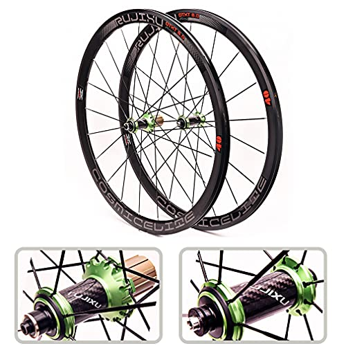 RUJIXU 700C Ciclismo Ruote Set 40mm V-Freno QR Ruote Bici Corsa Carbonio Mozzo Cuscinetto Sigillato per 8/9/10/11 velocità Cassetta A Bici da Corsa 1990g (Color : Green, Size : QR 40mm)