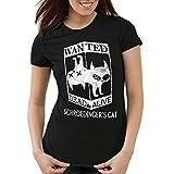 CottonCloud Gato de Schrödinger Wanted Camiseta para Mujer T-Shirt Sheldon, Color:Negro, Talla:S