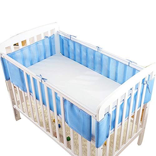 Crib Bumper 3D Breathable Summer Baby Baby Bedding Kit Universal Size Washable 120 * 60 blue