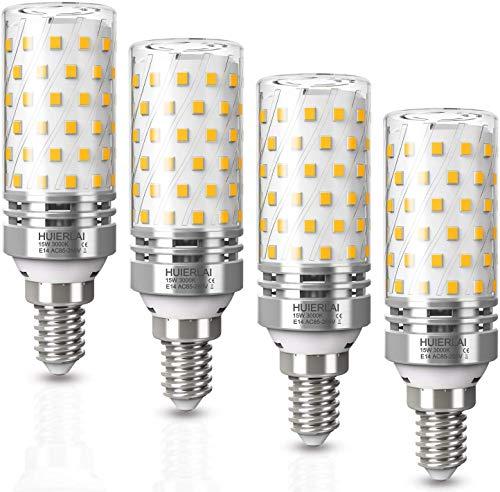 LED E14 Warmweiß 15W led Glühbirnen 3000K 1600LM E14 Led Mais Birne Ersatz 120W Glühlampe, Kandelaber Led Lampen Maiskolben Led Lampe Kerze Licht Leuchtmittel Energiesparlampe, 4er Pack