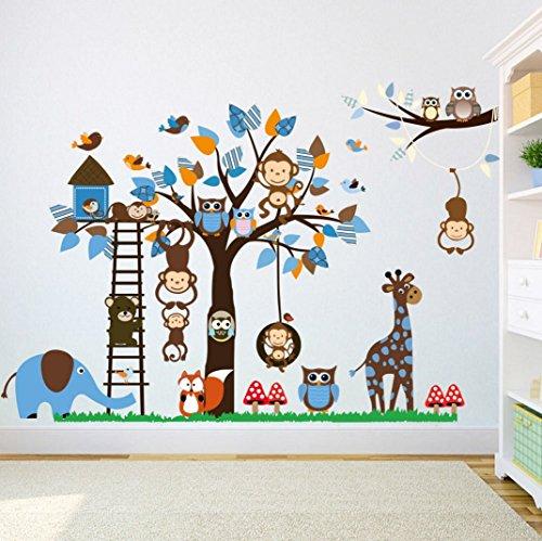 Graz Design Sticker mural décoratif pour chambre d'enfant Animaux Stickers Muraux, singe, éléphant Premium XXL