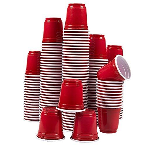 Plastik-Schnapsgläser – 150Stück, 74ml Fassungsvermögen, Einweg-Partybecher, Rot – 5,1x 5,1x 5,1cm