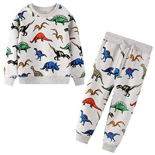 FILOWA Trainingsanzug für Jungen Kinder Jogginganzug Dinosaurier Drucken Sweatanzüge Pullover Sweatshirts und Hose Sportanzug Alter 2 3 4 5 6 7 Jahre
