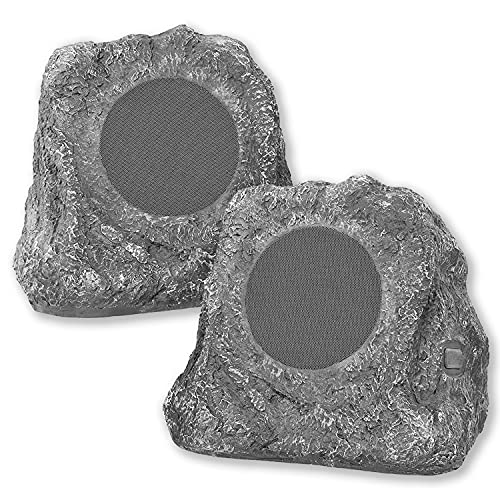 it.innovative technology Outdoor Rock Speaker Pair - Wireless Bluetooth Speakers for Garden, Patio, Waterproof Design, Built for all Seasons, Rechargeable Battery, Wireless Music Streaming, Charcoal