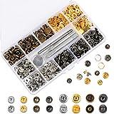 HAUSPROFI 120 Sets Druckknopf Kupfer Druckknöpfe Bronze Kleidung Snaps Taste