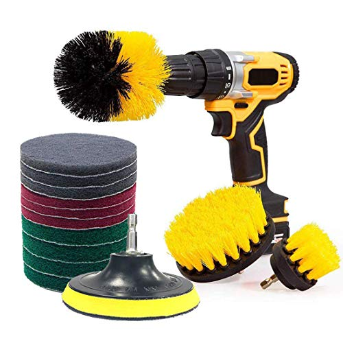 Drill Brushes Attachment Kit,JHCtech 13 Pieces Time Saving Scouring Pad Power Scrubber Cleaning Set for Floor,Tiles,Car,Tub,Glass,Cupboards,Kitchen,Bathroom,Shower,Corners