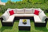 Weatherproof Outdoor Patio 7-Piece Furniture Set Coffee Table, All-Weather Wicker